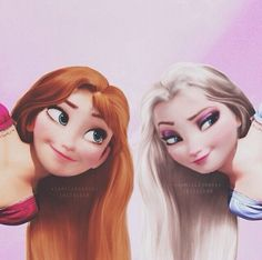 Anna and Elsa with their hair down. Elsa actually looks slightly like Rapunzel Disney Animation, Disney Pixar, Film Disney, Disney And Dreamworks, Disney Magic, Disney Frozen, Disney Art, Disney Movies, Elsa Frozen