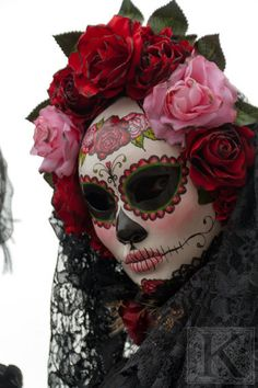 Day of the dead - Signed photo 8 x 12 - BOGO sale - Carnival of Venice mask costume red black masquerade mystery pink gothic