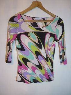 0cae94fe6c4 GENUINE EMILIO PUCCI (Made in Italy) 100% JERSEY SILK PATTERNED TOP DAY /