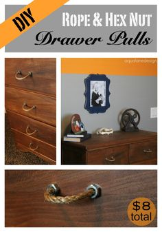 Create these unique drawer pulls for only $8 for the entire project!  (That's $1 each) Use rope and hex nuts to create a super cool look for cheap! aqualanedesign.com