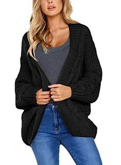bf25acd1a1 Chic Dokotoo Womens Open Front Long Sleeve Chunky Knit Cardigan Sweater  S-XXL online.