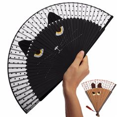 New Arrival Vintage Japanese Silk Hand Fan Cartoon Cat Painted Ladies Folding Fan Craft Gift Decoration Favor Outdoor