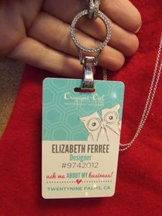 Do you work for a company that requires you to wear a lanyard? Check out how nice this badge looks with the lanyard locket. Need one? Contact me at homemom3@gmail.com or visit http://elizabethferree.origamiowl.com