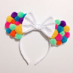Neon Pom Mouse Ears perfect for a hot bright summer day at disneyland or a bright photo shoot !