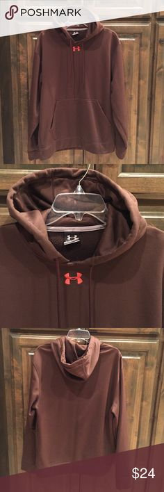 Under Armour Brown Hoodie Pullover M $64! Men's Under Armour Brown Hoodie Pullover- size Medium- logo in orange stitching- 100% poly- a few stitches are loose by front logo- otherwise great condition!! Bought brand new for $64!! Under Armour Shirts Sweatshirts & Hoodies