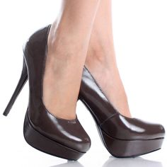 Brown Platform Pumps Stiletto High Heels Patent Womens Dress Shoes