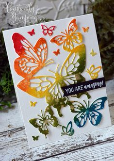 Butterfly Beauty Thinlits card by Connie Collins cards Constantly Stamping Paper Cards, Folded Cards, Butterfly Cards Handmade, Cards For Friends, Friend Cards, Horse Cards, Bee Cards, Birthday Cards For Women, Sympathy Cards