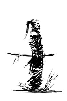 Illustration samouraï homme au repos