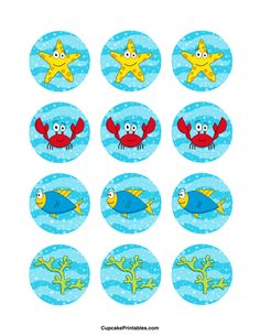 Under the Sea cupcake toppers. Use the circles for cupcakes, party favor tags, and more. Free printable PDF download at http://cupcakeprintables.com/toppers/under-the-sea-cupcake-toppers/