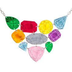 Gemstone necklace  laser cut mirror acrylic by sugarandvicedesigns, £24.00