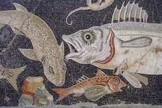 Marine Life Mosaic from House VIII Pompeii demonstrating the vermiculatum technique Roman 2nd century BCE (2) by mharrsch, via Flickr