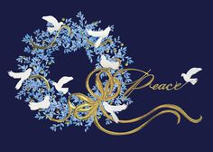 Peaceful Wreath - Holiday Greeting Cards- This navy blue card boasts a pale blue wreath with white doves and gold foil accents extending a wish for Peace this holiday season. The Office Gal