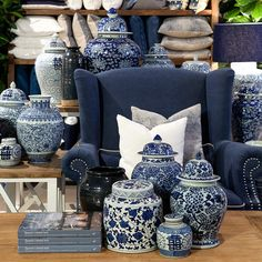 Blue and white Dynasty jars.