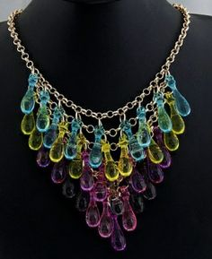 Pre Order Only -Tear-drop -Statement Necklace  DUE DATE ARRIVAL  23rd May   Purple/Yellow and blue tear-drops   Alloy/Resin    Size Approx : 23cm Chain   Acrylic / Gem  £12