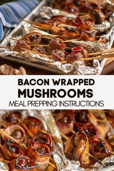 Three Different Toppings Make these Oven Baked Bacon Wrapped Mushrooms. These include meal prep instructions and are super easy to clean up. Perfect for a holiday appetizer Bacon Appetizers, Finger Food Appetizers, Appetizer Recipes, Mushroom Appetizers, Finger Foods, Quick Appetizers, Holiday Appetizers, Oven Baked Bacon, Bbq Bacon