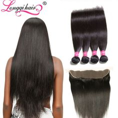 Peruvian Straight Hair 4 Bundles with Lace Frontal  Want it ?Learn more follow @longqihair