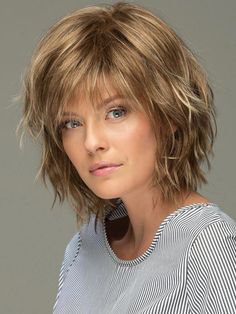 Messy Look Women's Shoulder Length Style Features Choppy Layers Wavy Human Hair Wigs Lace Front Wigs Short Thin Hair, Short Hair With Layers, Layered Hair, Short Hair Cuts, Choppy Layers, Choppy Bob With Bangs, Short Choppy Hair, Thick Hair, Long Face Hairstyles