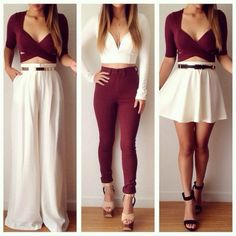 Tank top: match up white and burgundy in three different outfit styles crop top belt t-shirt peplum skirt jean