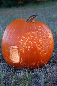 plenty of romance and nostalgia in one pumpkin, shaving off slices of pumpkin to create a 'glow' effect