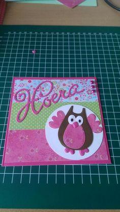 Verjaardagskaart gemaakt met mallen en papier van marianne design.
