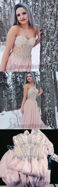 Sweetheart Pink Beaded Stunning Gorgeous Fashion Prom Dresses, 2018 Newest Prom Gowns, PD0584