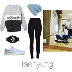 Dance Practice with Taehyung by btsoutfits on Polyvore featuring adidas, Vans, adidas Originals and Phase 3