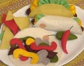Cute ideas for Mexican combo meal felt food. I especially like the tortilla chips and the lettuce!