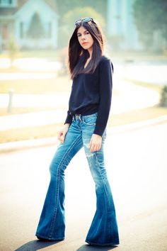 Christian Dior Sweater, True Religion Bell Bottom Jeans, Fashion Outfit