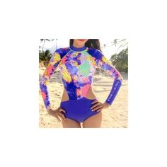 Printed Long-Sleeve Cutout Swimsuit ($17) ❤ liked on Polyvore featuring swimwear, one-piece swimsuits, women, nylon swimwear, cut out one piece swimsuit, cut out swimsuit, cut-out swimsuits and cut-out one piece swimsuits