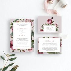 Red Rose Wedding Invitation Suite Template English Rose