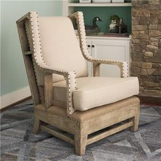 Exposed Wood and Burlap Arm Chair