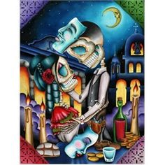 masquerade by dave sanchez skeleton sugar skull lovers tattoo paper art print skeleton-sugar-skulls salsa skeleton love mexican-death-mask alternative-artwork Mexican Skeleton, Skeleton Art, Stretched Canvas Prints, Canvas Art Prints, Fine Art Prints, Tattoo Chicana, Los Muertos Tattoo, Sugar Skull Art, Sugar Skulls