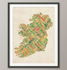 Ireland Eire City Text map Art Print 18x24 inch 309 by artPause on imgfave