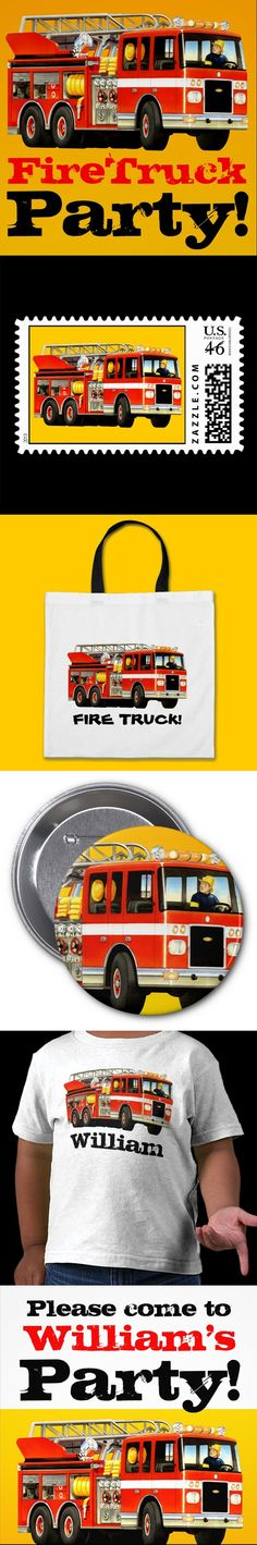 Firetruck Party! If your little fireman or firewoman wants to have a firetruck themed party, then TruckStore has some great firetruck themed party ideas.