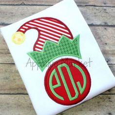 Machine Embroidery Design Applique Elf Hat Circle Monogram INSTANT DOWNLOAD