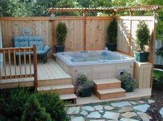 Inspiring Backyard Hot Tub With Gergoeus Design Ideas   Home Interior & Exterior