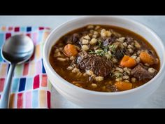 Pressure Cooker Beef and Barley Soup recipe. Soup made from scratch, starting with a beef bone broth. Perfect for warming up on a cold winter night.