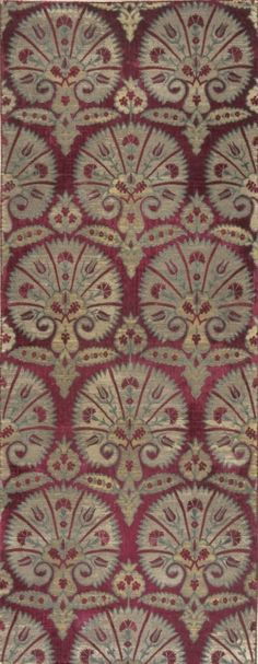 Textile with Stylized Carnations, Turkey, second 16th century (cut and voided silk velvet on metallic ground)