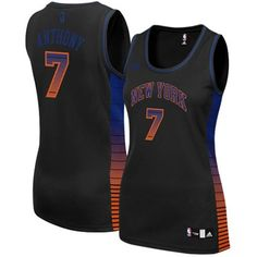 1cc697b71 Carmelo Anthony New York Knicks  7 Women s NBA Basketball Black Vibe Jersey  (Women Small