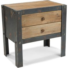 Aurelle Home Rustic and Industrial 2-drawer Side Table