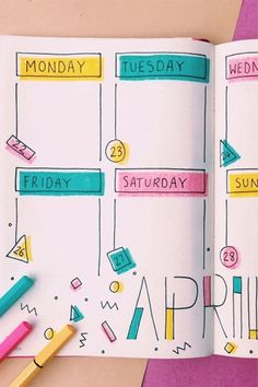 How fun is this April weekly spread? Check out the rest of these adorable ideas for inspiration! point journal ideas fun 20 Adorable April Weekly Spreads For Bullet Journal Addicts - Crazy Laura Bullet Journal School, Bullet Journal Headers, Bullet Journal Lettering Ideas, Bullet Journal Banner, Bullet Journal Notes, Bullet Journal Aesthetic, Bullet Journal Writing, Bullet Journal Ideas Pages, Bullet Journal Inspiration