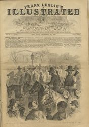 "Frederick B. Schell (1838-1905) ""The War in Mississippi—The 1st Mississippi Negro Cavalry Bringing into Vicksburg Rebel Prisoners Captured at Haines Bluff. –From a Sketch by our Special Artist, Fred B. Schell."" Frank Leslie's Illustrated News  December 19, 1863 Wood engraving"
