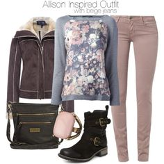 """""""Allison Inspired Outfit with Beige Jeans"""" by veterization on Polyvore"""