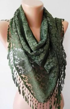 NEW Super  elegant  scarf  Lace scarfgreen by womann on Etsy, $19.90