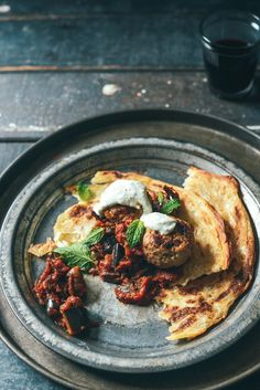 From the Kitchen I Meatballs with Indian spiced Eggplant and Minty Yoghurt