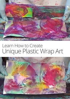 Looking for a creative watercolor art project? Nancy Christy-Moore demonstrates a fun way to make one-of-a-kind abstract art using plastic wrap and watercolors. Art For Kids, Crafts For Kids, Arts And Crafts, Manipulation Techniques, Paper Magic, Painting Plastic, Crafty Kids, Plastic Wrap, Cool Nail Designs