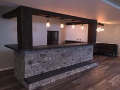 Dynamic Basement Bar Design with Beams More