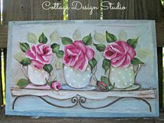 A trio of pretty, Polka dots tea cups and pink cottage roses are pretty as can be in this wonderfully whimsical painting. Description from etsy.com. I searched for this on bing.com/images