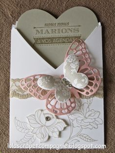 déco+VS+FP+mariage+b+Lola. Stampin Up Karten, Stampin Up Cards, Wedding Cards, Wedding Favors, Wedding Stationery, Wedding Invitations, Pretty Packaging, Butterfly Cards, Artist Trading Cards