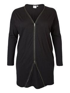 JUNAROSE Cardigan, Lange Ärmel, Reißverschluss vorn, Jersey-Qualität, Die Vorderlänge in Größe 44 beträgt 95 cm (von der oberen Schulter bis zum Abschluss), Styling-Tipp: Trage diesen Cardigan für einen lässigen Look mit einem engen T-Shirt ,   50% Modal, 50% Bio-Baumwolle...